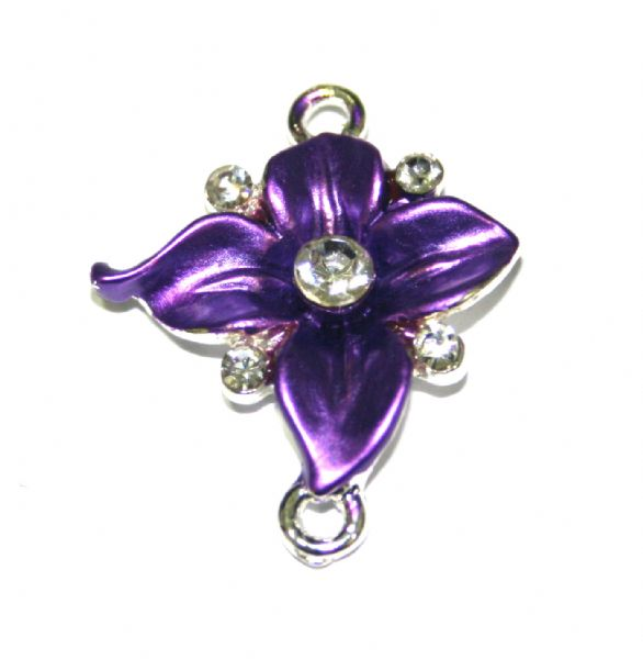 Ipce x 27mm*23mm Ornate purple flower connector - enameled alloy charm with rhinestones